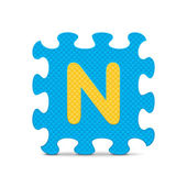 "Vector letter ""N"" written with alphabet puzzle — Stock Vector"