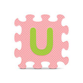 "Vector letter ""U"" written with alphabet puzzle — Stock Vector"