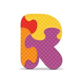 διάνυσμα γράμμα r γραπτή με αλφάβητο παζλ — Διανυσματικό Αρχείο