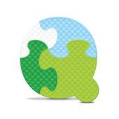 Vettore lettera q scritti con puzzle alfabeto — Vettoriale Stock
