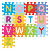 Vector alphabet from Z to N written with puzzle — Stock Vector