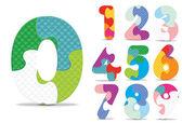 Vektör sayıları bulmaca alfabesi ile yazılmış — Stok Vektör