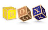 アルファベットブロックで書かれた単語ボックス — ストックベクタ