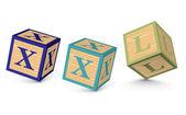 Word XXL written with alphabet blocks — Stock Vector