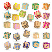Vector alphabet blocks — Stock Vector