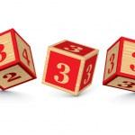 Vector number 3 wooden alphabet blocks — Stock Vector #47445505