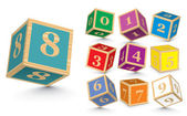 Vector wooden number blocks — Vettoriale Stock