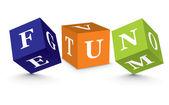Plaisir de mot écrit avec des blocs de l'alphabet — Vecteur