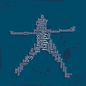 Jumping people silhouette made with words — Vector de stock