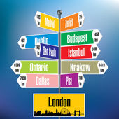 London signpost with cities and distances — Stock Vector