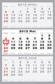 2015 may with red dating mark — Stockvector