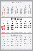 2015 june with red dating mark — Stock Vector