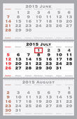 2015 july with red dating mark — Stock Vector