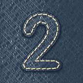 Numero 2 in tessuto jeans — Vettoriale Stock