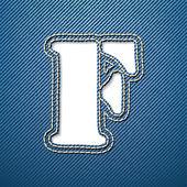F письмо джинсы джинсовая — Cтоковый вектор