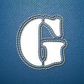 Denim jeans písmeno g — Stock vektor