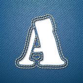 Denim jeans letter A — Stock Vector