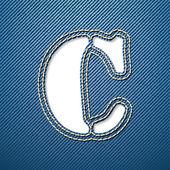 C письмо джинсы джинсовая — Cтоковый вектор