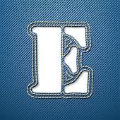 Denim jeans letter E — Stock Vector