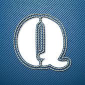 Denim jeans letter Q — Stock Vector