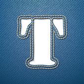 T письмо джинсы джинсовая — Cтоковый вектор