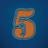 Number 5 made from leather on jeans background — Stock Vector