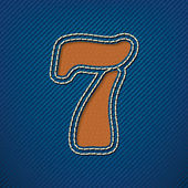 Number 7 made from leather on jeans background — Stock Vector
