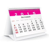 October 2015 desk calendar - vector — Stock Vector