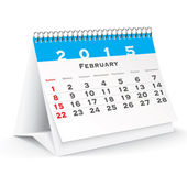 February 2015 desk calendar - vector — Vector de stock