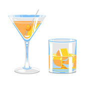 Glass of martini and whiskey — Stock Vector