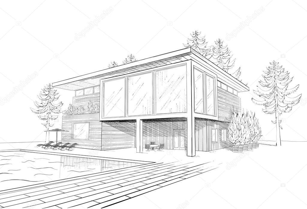 Dibujo vectorial de casa moderna con piscina vector de for Casa moderna vector