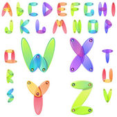 Rainbow candy alphabet with multicolored jems — Stock Vector