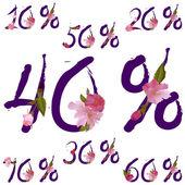 Vector sale percents with spring sakura flowers — Stock Vector
