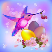 Easter greeting card with eggs, cherry flowers and humming-bird — Stock Vector