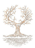 Vector graphic old branchy tree — Stock Vector