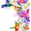 Stock Vector: Rainbow humming-bird with violet orchids