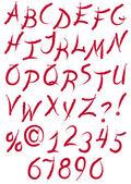 Ink calligraphy alphabet — Stock Vector
