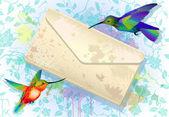 グランジ封筒とカラフルなハチドリ — ストックベクタ