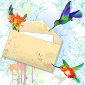 Karty wektor grunge kopertę i kolibry — Wektor stockowy