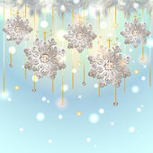 Christmas Card with silver snowflakes decoration — ストックベクタ