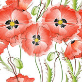 Seamless Background with Red Poppy Flowers — Stok Vektör