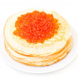 Russian pancakes with red caviar - isolated — Stock Photo #36807937