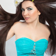 Beautiful Brunette Girl. Healthy Flying Long Hair — Foto Stock