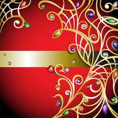 красный фон с золотые украшения — Cтоковый вектор