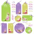 Vector spring sale tags with cherry flowers — Stock Vector