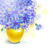 Bluebottle bouquet in yellow vase — Stockvector