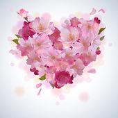 Vector background with cherry petal heart — Stock Vector