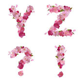 Spring alphabet with cherry flowers YZ and signs — Stock vektor