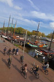 Bicycle tourism in Amsterdam — Stock Photo