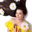Beautiful Smiling Girl with Camomiles — Stock Photo